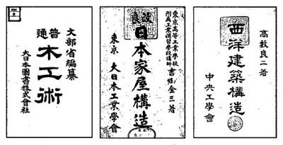 建築技術書の表紙 左側から順に、文部省編「普通木工術」(大日本図書 1899)、吉田全三著「改良 日本家屋構造」(大日本工業学会 1919)、髙藪良二著「西洋建築構造」(中央工学会 1930)